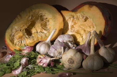varied: Pumpkin and garlic
