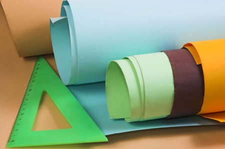 preliminary: Rolls of a multi-coloured paper Stock Photo