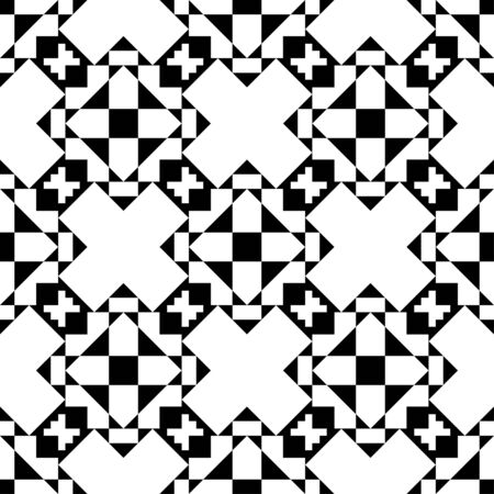 abstract seamless pattern background geometric black and white Ilustração