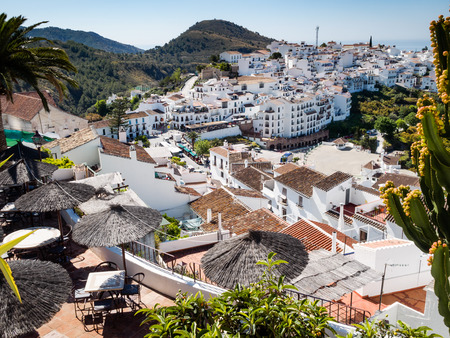 A view over the hillside village of Frigiliana, Anadalusia, Spain Stock Photo