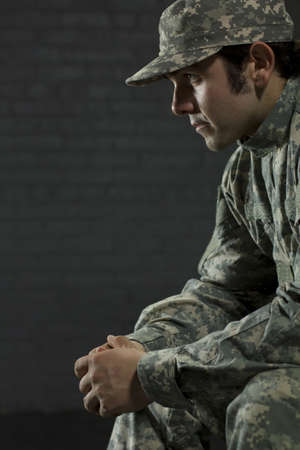 problem health: Young military man with PTSD