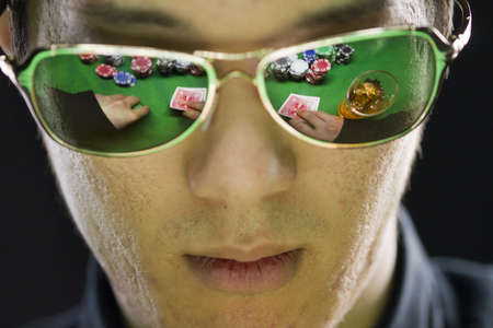 Poker player in sunglasses, horizontal photo
