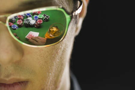 ace hearts: Poker player in sunglasses, horizontal