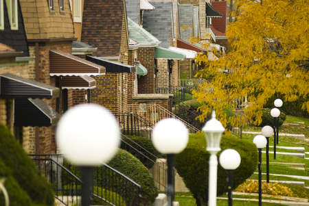 midwest usa: Suburban neighborhood in South Side of Chicago, horizontal