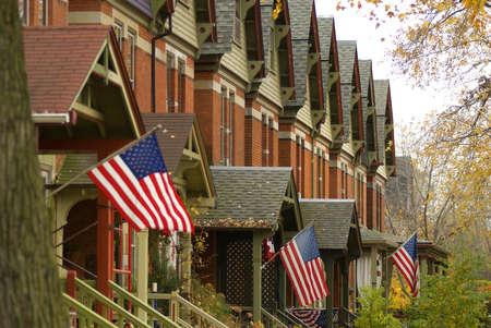 residential neighborhood: Barrio suburbano en el South Side de Chicago, horizontal