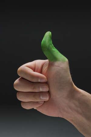 green thumb: Green thumb, vertical Stock Photo