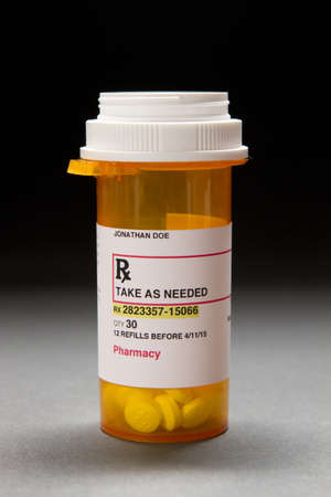 illegal substance: Prescription container, vertical Stock Photo