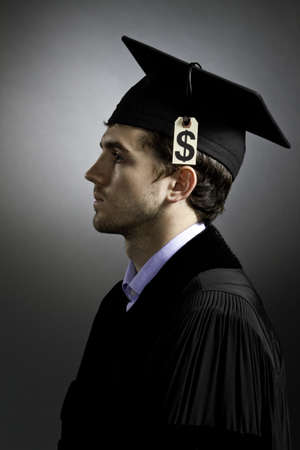 College graduate with tuition loan price tag, vertical
