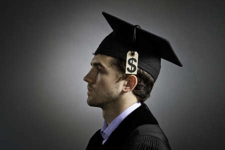 cost of education: College graduate with tuition loan price tag, horizontal