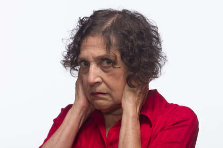 Woman doesn t want to hear, horizontal Stock Photo