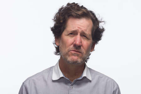 disgusted: Man looking disgusted, horizontal