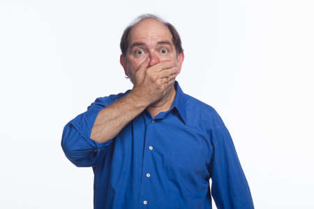 Man covering his mouth, horizontal