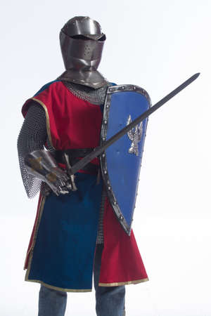 Man in full knight armor, vertical photo
