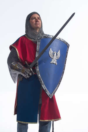 Knight holding sword and shield, looking up, vertical photo