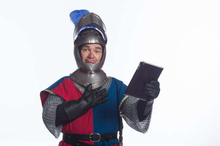 middleages: Knight using electronic tablet, horizontal