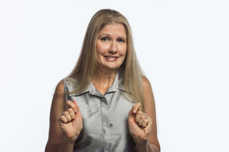 Woman looks guilty, horizontal Stock Photo