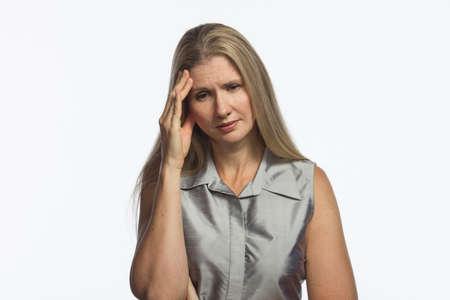 Woman with headache, horizontal