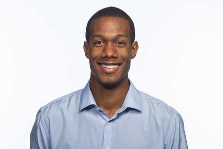 Handsome young black man smiling, horizontal