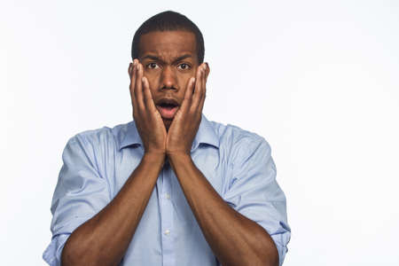 Young African American male shocked, horizontal Stock Photo