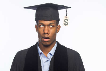 Recent college graduate surprised about tuition price tag, horizontal photo