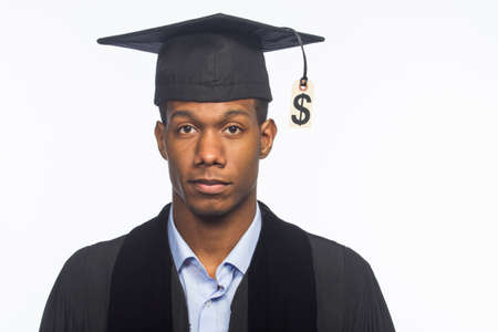 Recent college graduate not happy with tuition price tag, horizontal