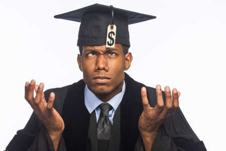 college graduation: Recent college graduate upset about tuition price tag, horizontal