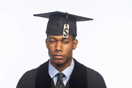 Recent college graduate with tuition price tag, horizontal Stock Photo
