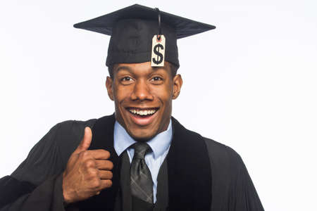 African American graduate smiling with tuition debt, horizontal