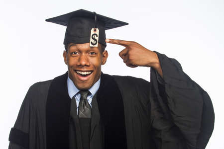 African American graduate smiling with tuition debt, horizontal Stock Photo - 22665357