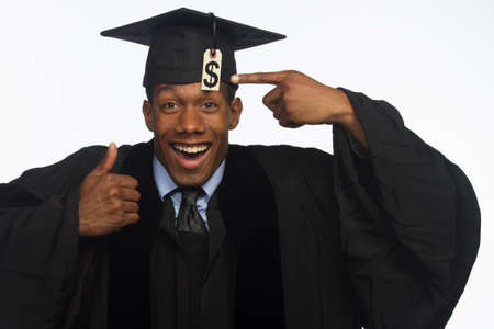 African American graduate smiling with tuition debt, horizontal Stock Photo - 22665359