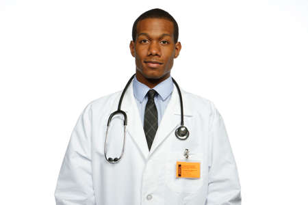 medical practitioner: Close up of African American doctor, horizontal