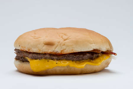 Single fast food hamburger, horizontal