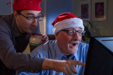 reacting: Two Christmas enthusiasts reacting to online content