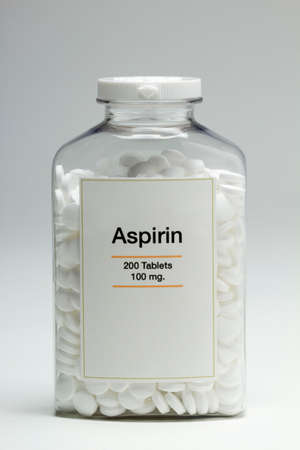 Bottle of aspirin, vertical photo