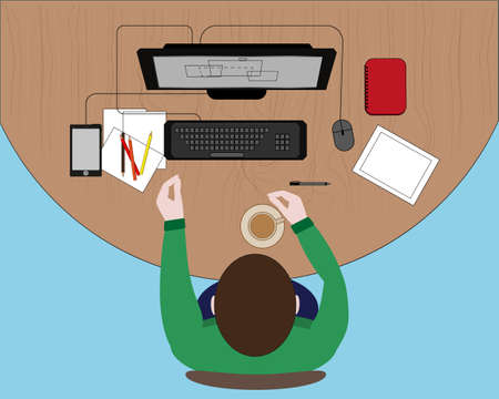 formulate: Concept of workplace with computer technology Illustration