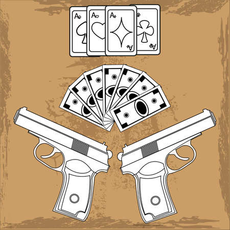 delinquency: Playing cards all four suits, wad of cash, two guns on grunge background
