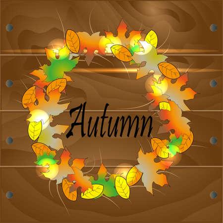 scored: A wreath of autumn leaves Illustration