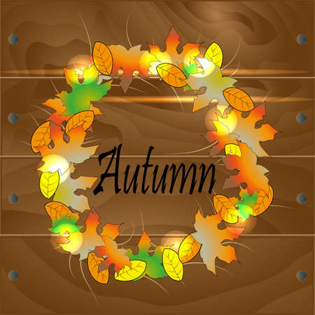 A wreath of autumn leaves Illustration
