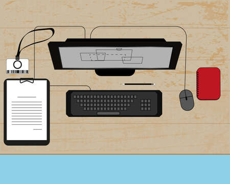 countertop: Illustration of workplace on a wood table with computer, tablet, notebook and pass card