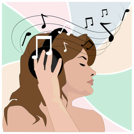 pleasure: girl in headphones listens to music and gets pleasure from it