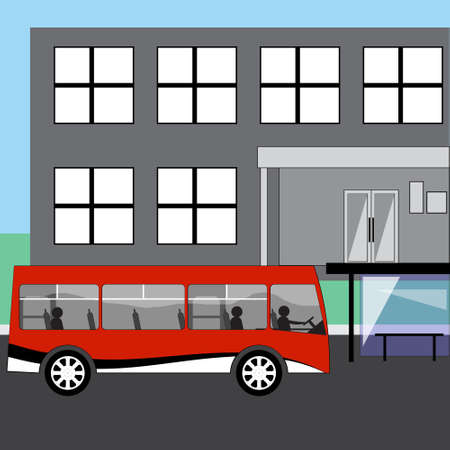 arriving: Red bus with passengers arriving at the bus stop Illustration
