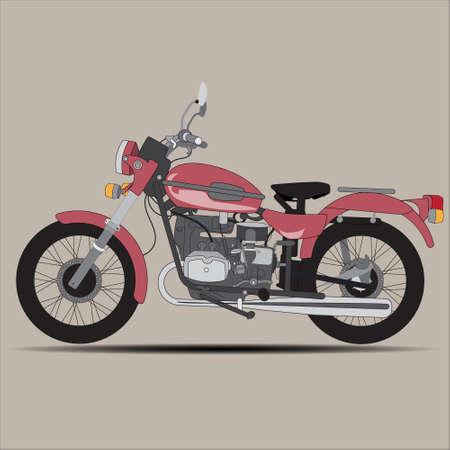 exhaust pipe: isolated image of a red retro motorcycle on brown background Illustration