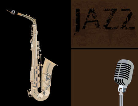 brass musical instrument saxophone and a microphone on a dark background