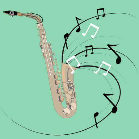 the image of the saxophone melody on a green background