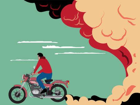motociclista: un motorista circula en un motorcycleexhaust roja Vectores
