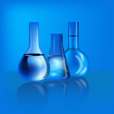 emulsion: three flasks of different shapes of glass with liquid on blurred blue background