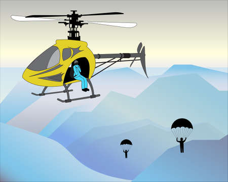 parachute jump: the moment of lifting by helicopter and parachute jump in the icy mountains