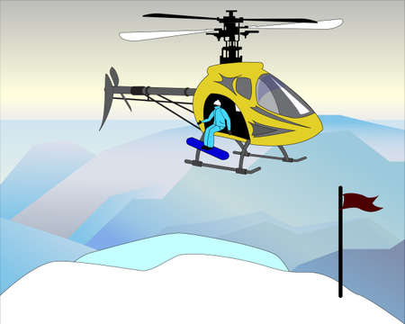 cutoff blade: yellow helicopter lifts a snowboarder in a blue suit at the top of the mountain
