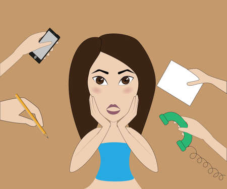 contracts: office worker experiencing the stress of phone calls, signing of contracts