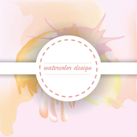 nuance: round label on blurred background with watercolor stains Illustration